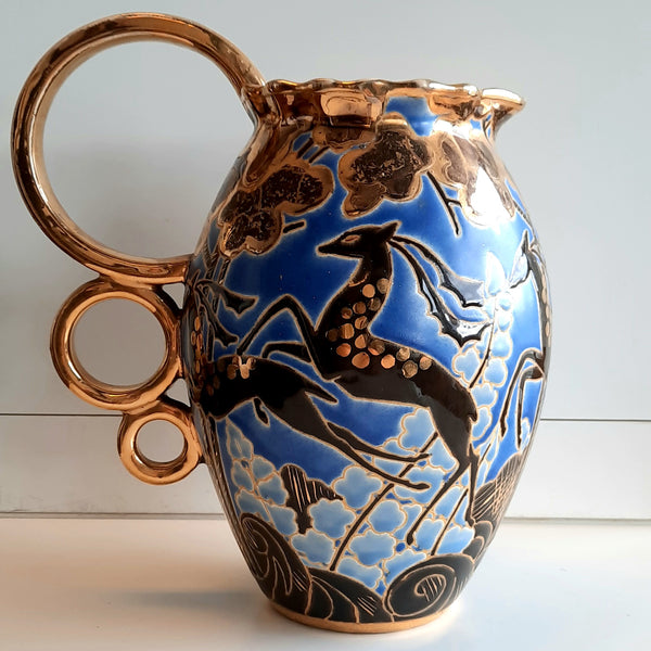A Raymond Chevalier & Charles Catteau jug for Boch, Belgium 1920's-1030's