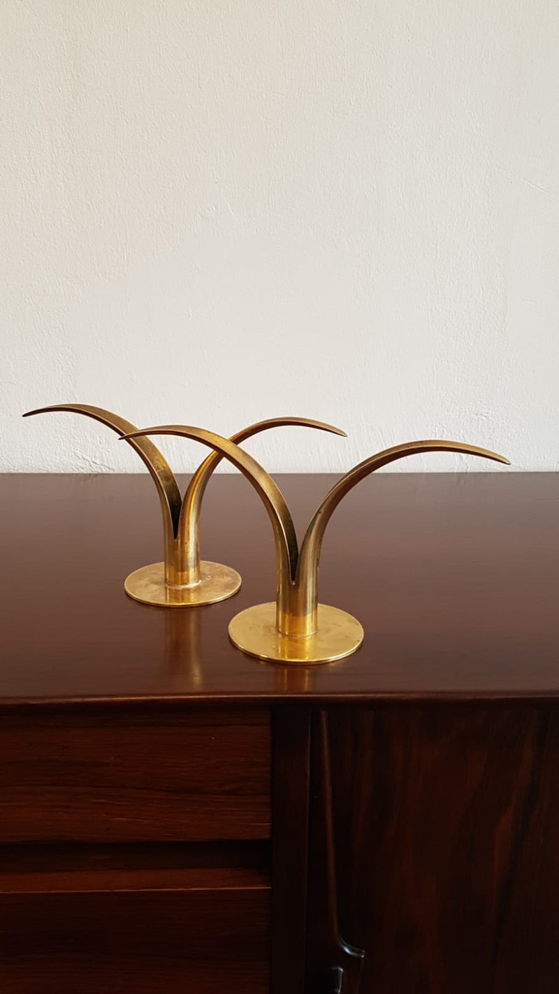 Ivar Ålenius Björk Candle holders Liljan for Ystad Metall, Sweden 1940's