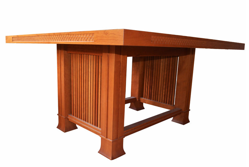 Frank lloyd Wright Dining Suite in solid natural cherrywood by Cassina in 1992