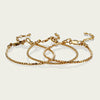 3 gorgeous delicate 14kt Gold-Fill stacking bracelets. Incredibly durable yet beautifully delicate these will last years!  2 featuring 2.4mm tiny faceted gold beads and another featuring even smaller 2mm gold beads hand-strung with great care on deceptively strong wire and finished with a lobster claw clasp and chain to adjust to any length.