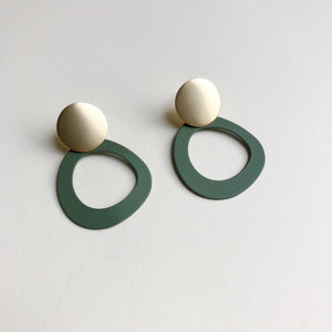 Halo earrings by Jack & Freda - olive and gold