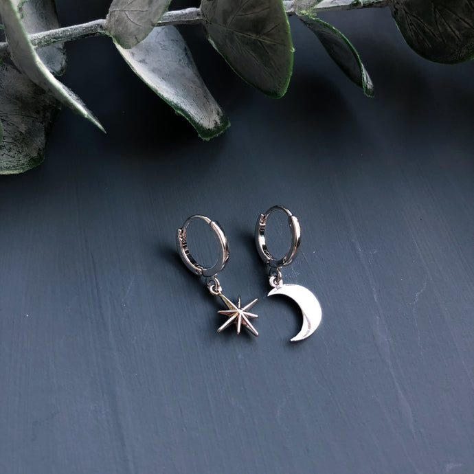 Mismatched star and moon mini hoops