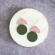Load image into Gallery viewer, Orla earrings, olive with pink top