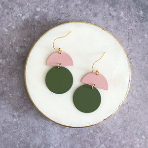 Orla earrings, olive with pink top