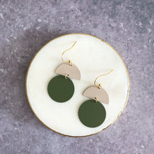 Load image into Gallery viewer, Orla earrings, olive with putty top