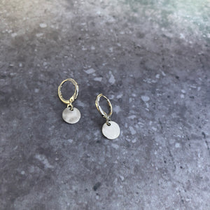 Hammered disc earrings in silver