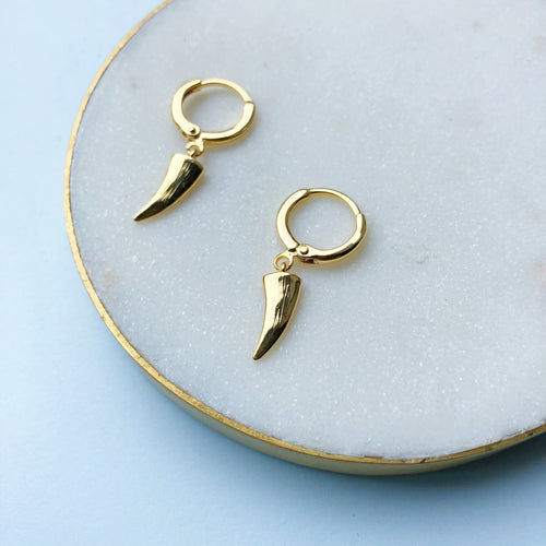 Gold plated horn huggie earrings
