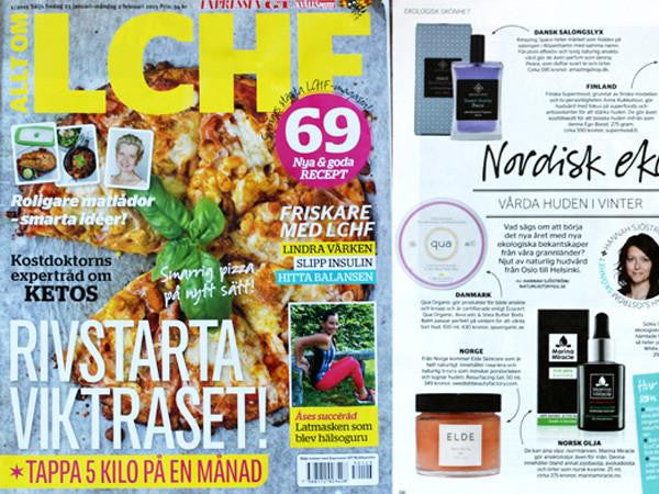 Swedish magazine LCHF is recommending our face oil for menn