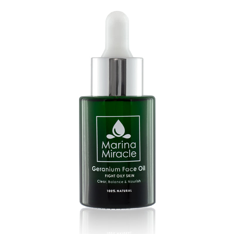 Geranium Face Oil with a green glass bottle and dropper