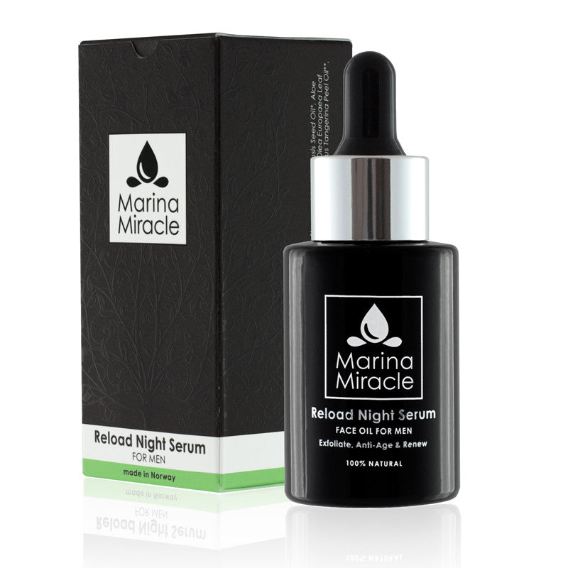 reload night serum for men. Black glass bottle protecting the product from UV light.