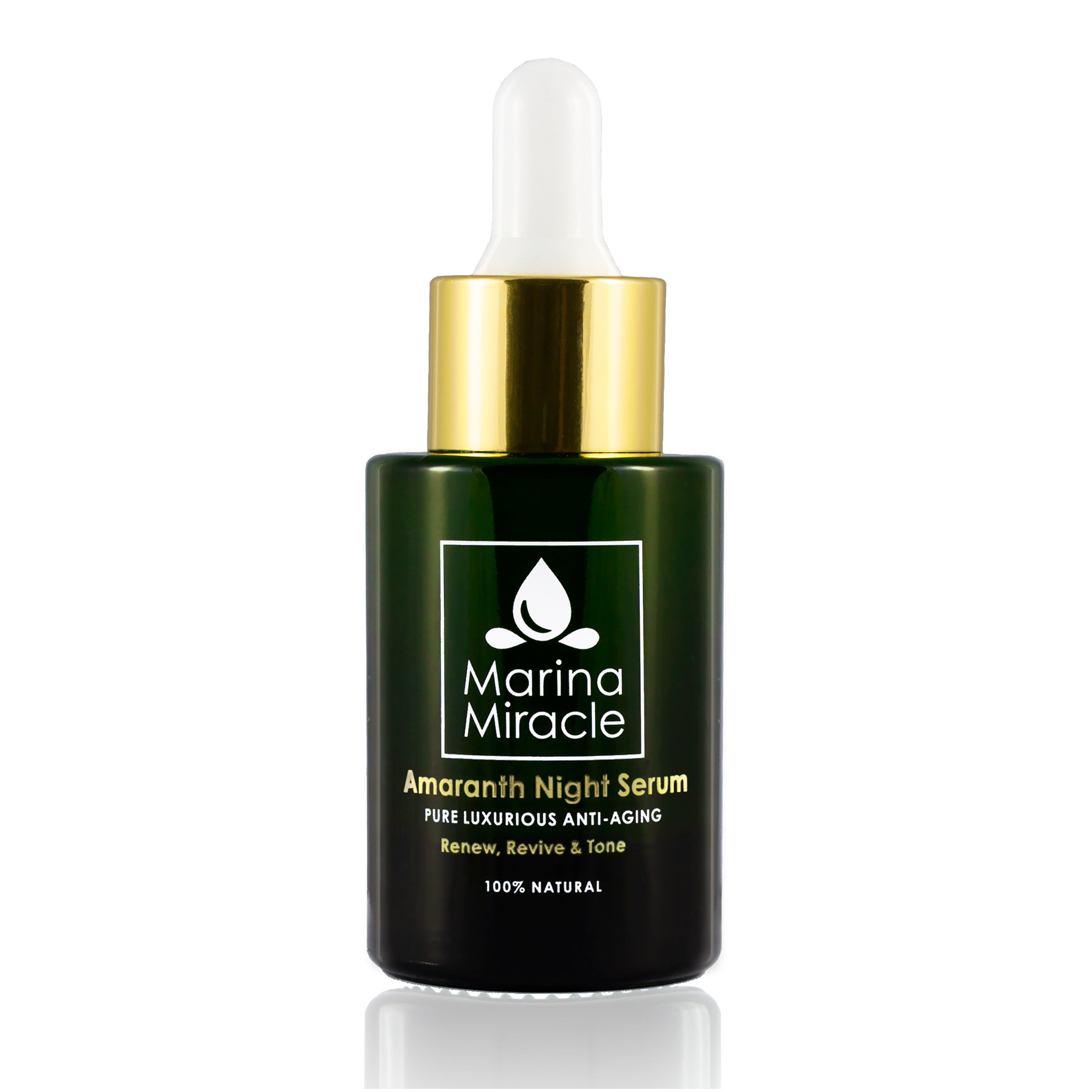 Amaranth Night Serum green glass bottle with dropper