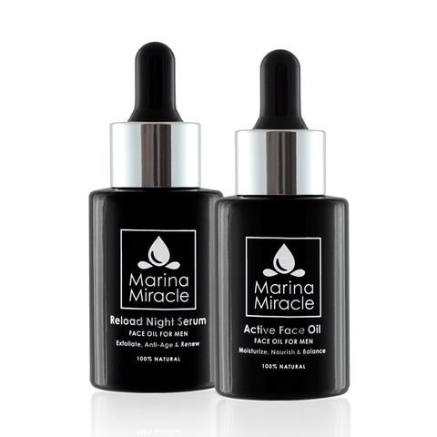 Night serum and face oil for men on black glass bottle with dropper.