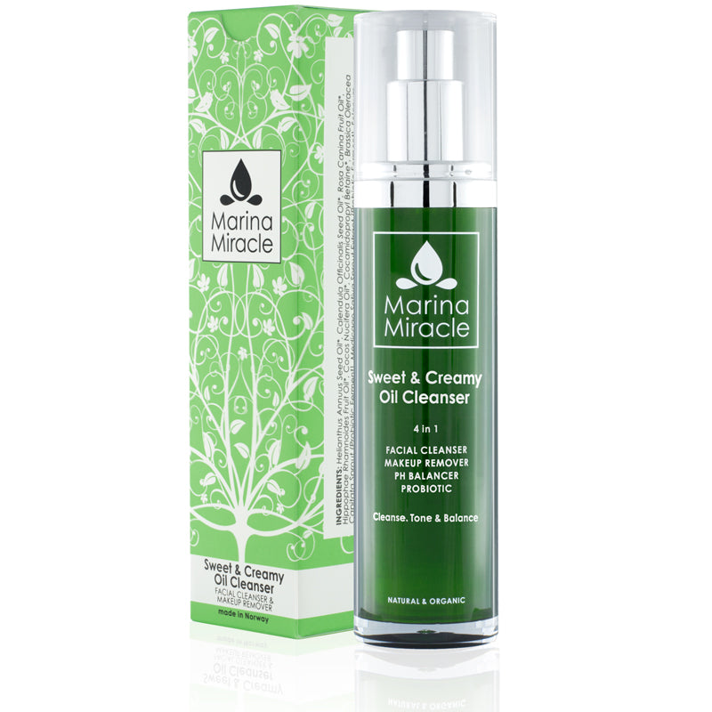Marina Miracle Sweet & Creamy Oil Cleanser travel size in a green air less bottle with pump