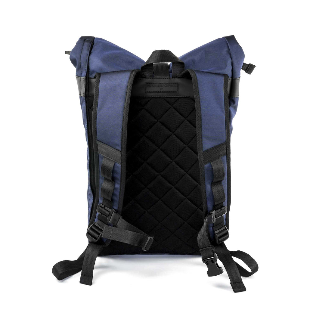 px weatherproof Invisible backpack rolltop dark blue - back
