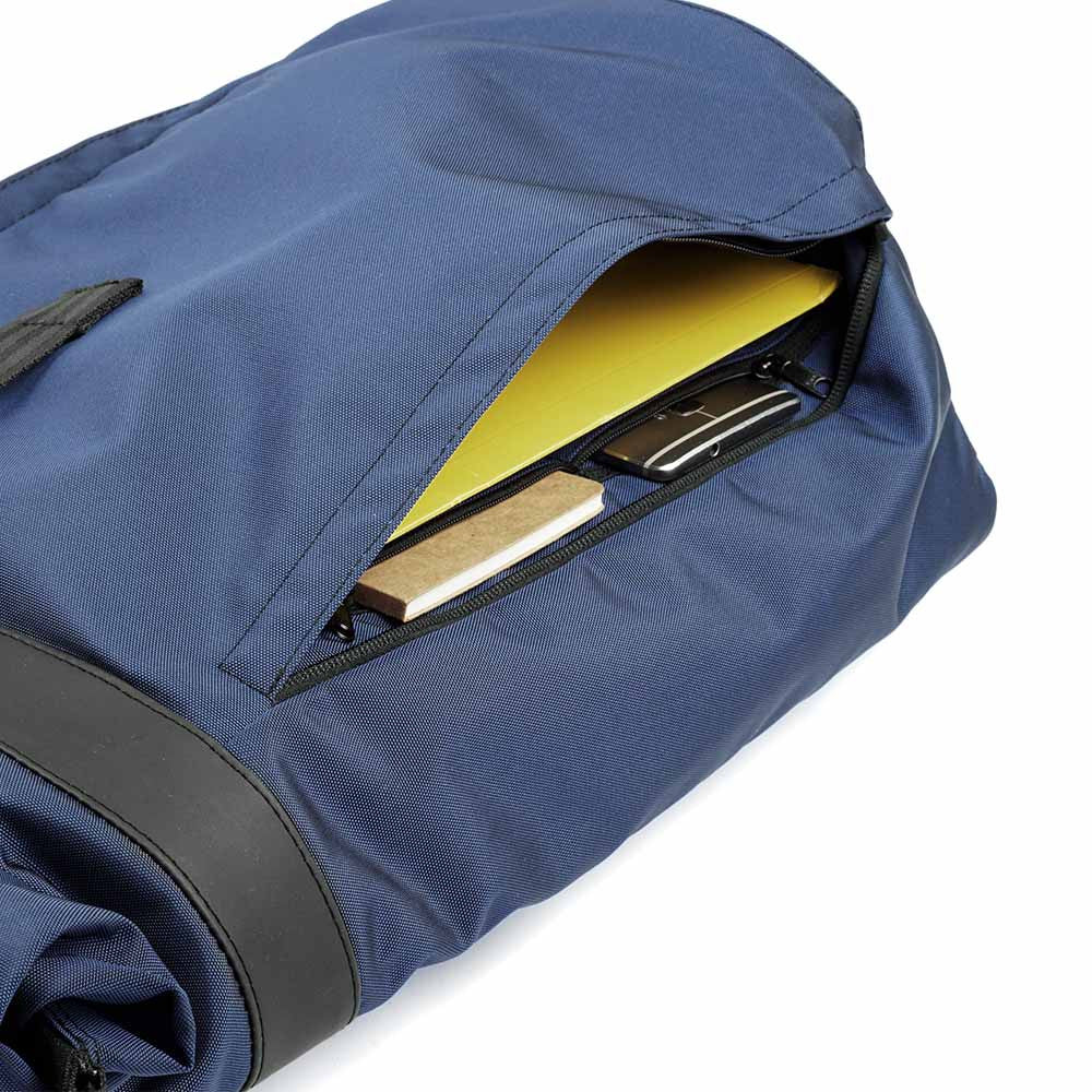 px weatherproof Invisible backpack rolltop dark blue - side pockets