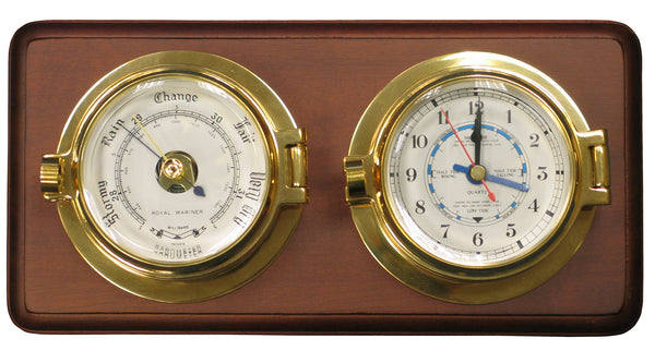meridian zero channel range brass tide clock and barometer mounted on a wooden board
