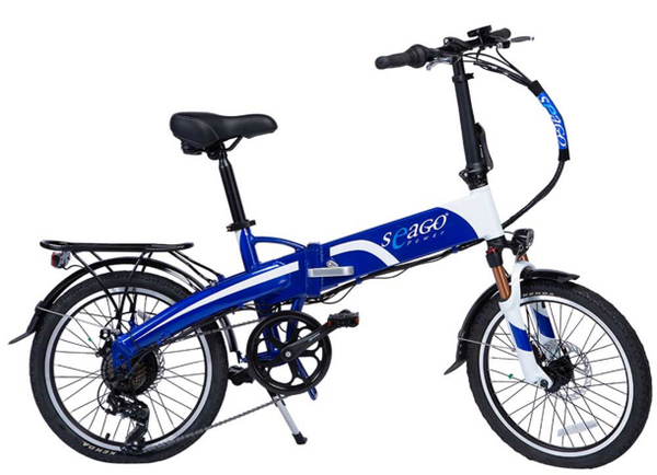 Seago E-Power Folding Electric Bike - New 2020 Model - L-Ion Battery -7 Speed with Free Carry Case with Wheels - Out of Stock - See Seago Go City Lite