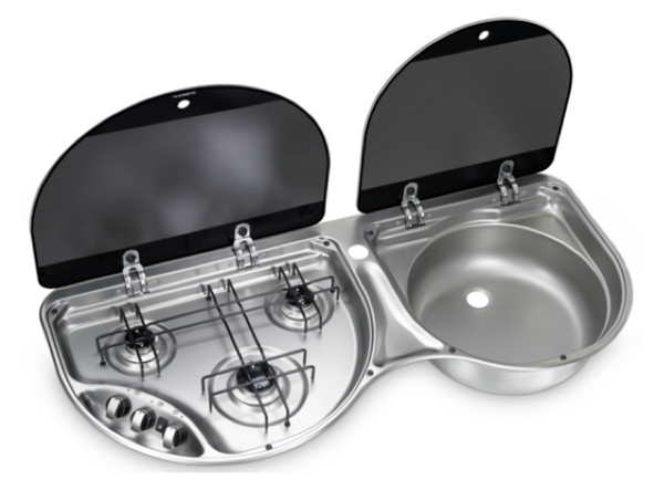 Dometic HSG 3430 Three Burner Hob and Sink Combination with Glass Lids - 970 x 430mm