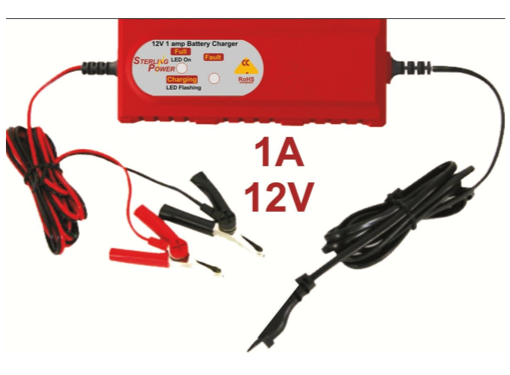 Sterling 1 Amp 12v Battery Charger - Fully Automatic Microprocessor Controlled