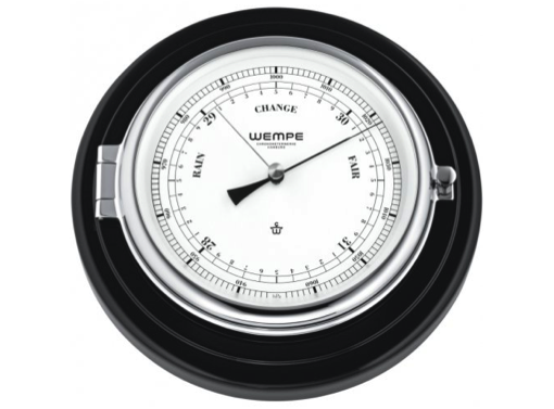 Wempe Skipper Series Barometer 210mm - Chrome Barometer/Black Wood