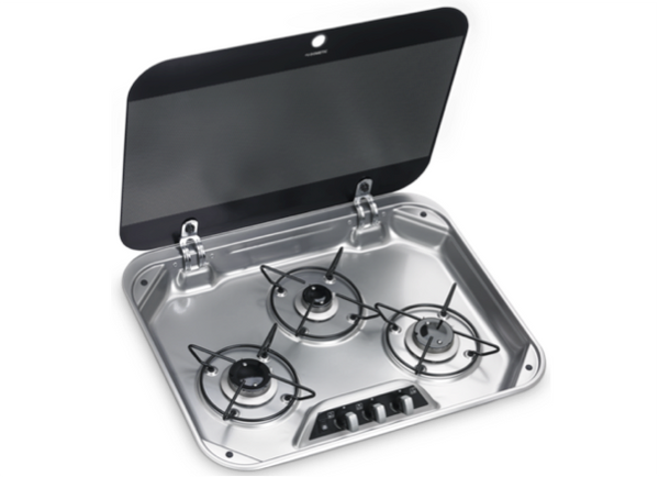 Dometic HBG 3440 Three Burner Gas Hob with Glass Lid - 560 x 440mm