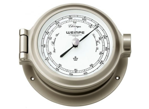 Wempe Nautik Series Barometer 120mm - Matt Nickel Plated Brass White Face