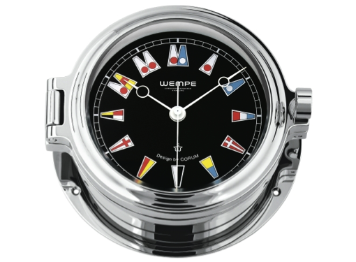 Wempe Regatta Series Porthole Clock with Flag Themed Face 140mm -Chrome Case