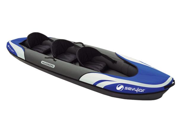 Sevylor Hudson Inflatable Kayak with 2 x Bravo KC Compact Paddles, Bravo 4 Pump & 2 x Baltic Canoe Buoyancy Aids - 2 + 1 Persons - New 2019 Model