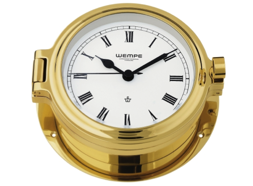 Wempe Cup Series Porthole Clock 140mm - Roman Numerals - Brass Case