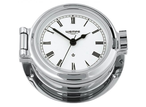 Wempe Nautik Series Clock Roman Numerals 120mm - Chrome
