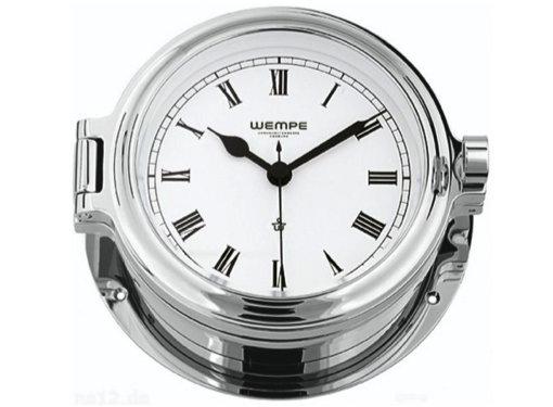 Wempe Cup Series Porthole Clock 140mm - Roman Numerals  - Chrome Case