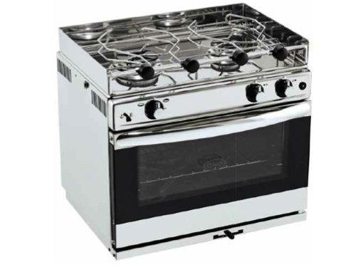 Eno Grand Large 2 - Stainless Steel 2 Burner Hob with Oven & Grill - Ignition, Gimbals & Pan Clamps