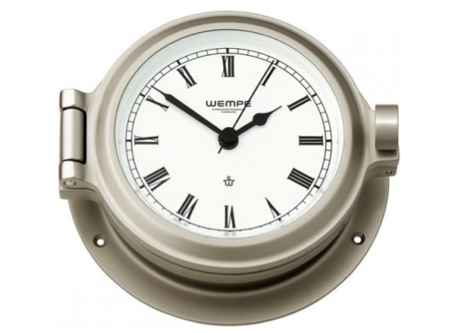 Wempe Nautik Series Porthole Roman Numeral Clock  120mm - Matt Nickel Plated White Face