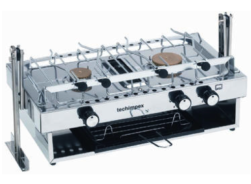 Techimpex Skipper Double Burner Hob & Griil with Pan Clamps & Gimbals