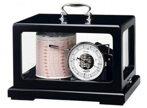 Wempe Drum Barograph Chrome Plated in Black Wooden Enclosure