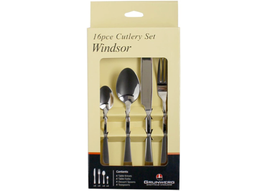 Meridian Zero Windsor Stainless Steel 16 Piece Cutlery Set