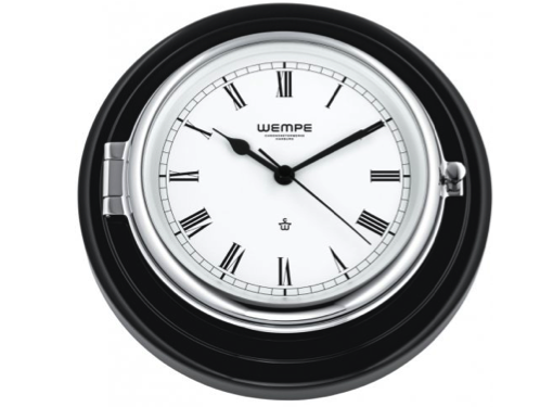 Wempe Skipper Series Ships Clock 210mm - Chrome/Black Wood