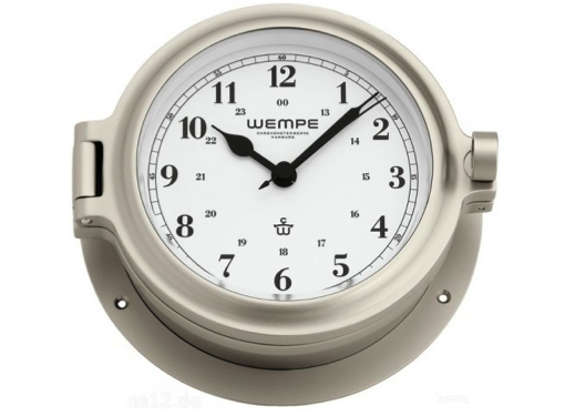 Wempe Cup Series Porthole Clock 140mm - Arabic Numerals  - Nickel Plated Case