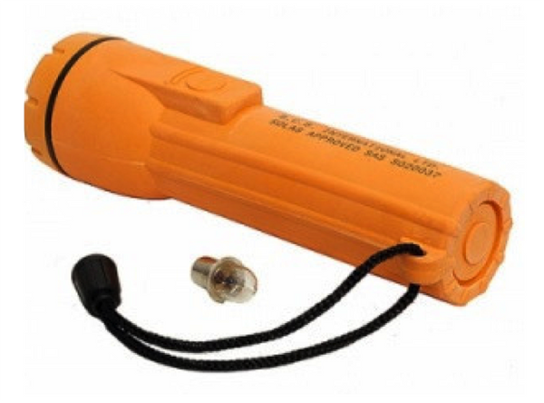 Waterproof Solas MED Approved Torch - c/w bulb