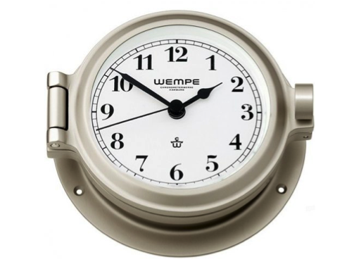 Wempe Nautik Series Clock Arabic Numerals 120mm - Matt Nickel Plated White Face
