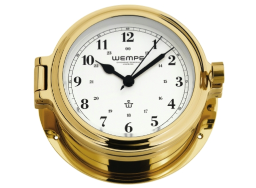 Wempe Cup Series Porthole Clock 140mm - Arabic Numerals - Brass Case