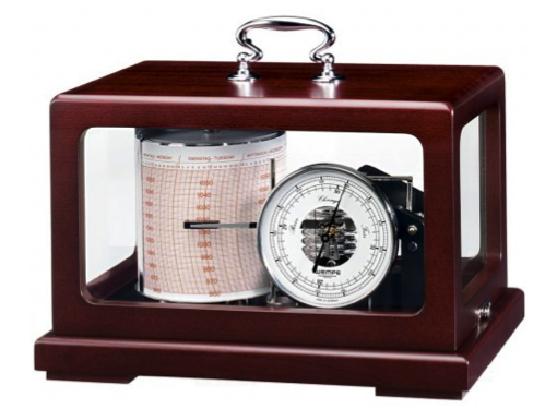 Wempe Drum Barograph Chrome in Matt Mahoghany Case