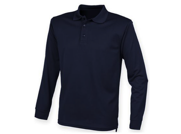 Hudson Wight Long Sleeve Tech Polo Navy