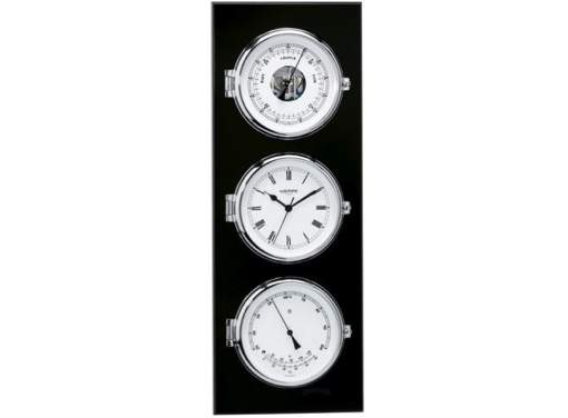 Wempe Elegance Series Quartz Clock with Barometer and Thermometer/Hygrometer Chrome Plated in Black Wooden Board