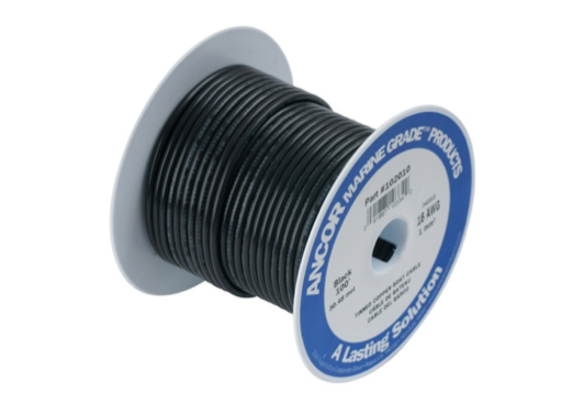 Tinned Electrical Cable Single Core - 10 AWG - 30 or 75M - 4 Colours