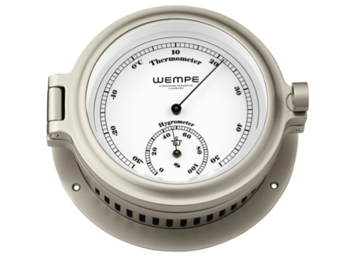 Wempe Cup Series Thermometer/Hygrometer Combination 140mm - Nickel Plated Case