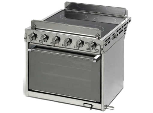 Techimpex Horizon Electric Cooker - 4 Burner Electric Ceramic Hob. Electric Oven & Grill, Gimbals, Pan Clamps