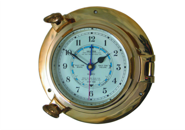 Meridian Zero Porthole Range Medium Brass Tide Clock