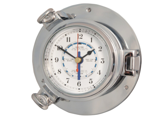 Meridian Zero Small Porthole Polished Chrome on Brass Tide Clock
