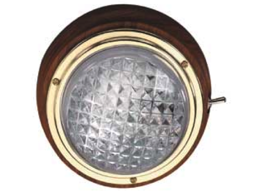 Solid Teak Interior Lamp with Brass Bezel 12/24V